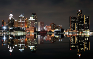 Detroit skyline at nighttime